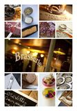 Images on a bistro collage. Dishes and atmosphere of French bistro on a collage Stock Photo