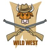 Images of a bull in a cowboy hat and guns. Cartoon picture of the wild west. Cowboy Concept. Vector graphics to design Stock Photography