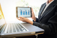Images of businesswoman showing and presenting for financial graph on digital tablet and computer labtop at workplace in office royalty free stock photos