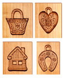 Images carved in wood. Used as molds for baking royalty free illustration