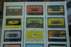 Images of cassette tapes on a poster in the shop window. San Cristobal de La Laguna. Tenerife. Canary Islands. Spain stock photography
