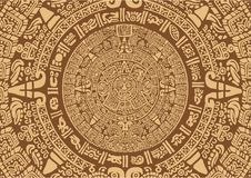 Ancient Mayan Calendar. Images of characters of ancient American Indians.The Aztecs, Mayans, Incas. Mayan calendar. The Mayan alphabet stock illustration