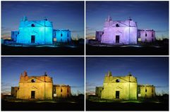 Images collage of colored ruined churches Royalty Free Stock Image