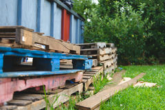 Images of colorful Pallets  2. Images of multi colored pallets Royalty Free Stock Photos