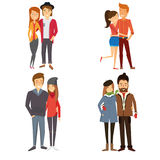 4 images of couples in different seasons. Illustration Royalty Free Stock Image