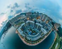 Images de panorama de vue de Hong Kong Cityscape de ciel photographie stock libre de droits