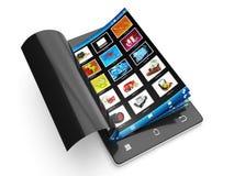Images de visionnement à un téléphone portable. Images stock