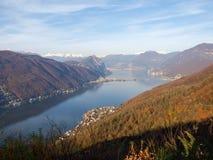 Images du Golfe de la ville de Lugano Photos libres de droits