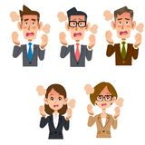 Employee male and female fever. The 6 images of employee male and employee female having fever royalty free illustration