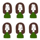 Facial expression of long-haired women 6 types. The images of Facial expressions of long haired women 6 types royalty free illustration
