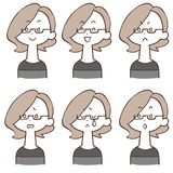 Facial expression of women wearing eyeglasses 6 types. The images of Facial expressions of a woman wearing eyeglasses 6 types vector illustration