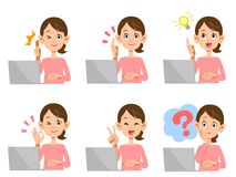 Female notebook computer Facial expression and gesture royalty free illustration