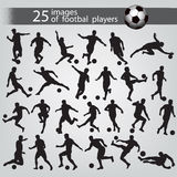 25 images of football players. 25 black images of football players on a grey background with an inscription and a ball Stock Photography