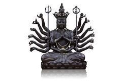 The images Guanyin black on white background Royalty Free Stock Photography