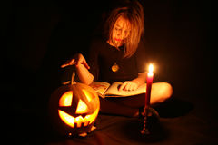Images for Halloween. The girl is preparing for Halloween Challenge Stock Image