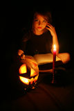 Images for Halloween. The girl is preparing for Halloween Challenge Stock Photo