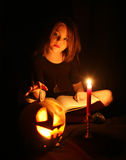 Images for Halloween. The girl is preparing for Halloween Challenge Stock Photography