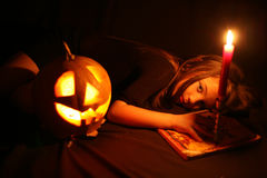 Images for Halloween. The girl is preparing for Halloween Challenge Royalty Free Stock Images