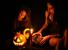 Images for Halloween. Mom and daughter are preparing for Halloween Royalty Free Stock Photo