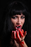 Images for Halloween. The woman in the image of a vampire for Halloween Stock Images