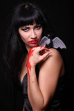 Images for Halloween. The woman in the image of a vampire for Halloween Stock Photo