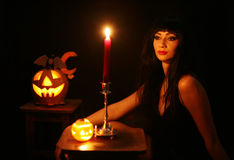 Images for Halloween. A young woman prepares for Halloween Challenge Royalty Free Stock Photos