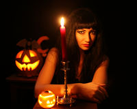Images for Halloween. A young woman prepares for Halloween Challenge Stock Photos