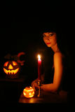 Images for Halloween. A young woman prepares for Halloween Challenge Stock Photography