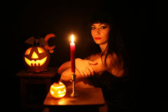 Images for Halloween. A young woman prepares for Halloween Challenge Royalty Free Stock Image