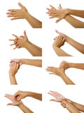 Images How To Wash Hand. Eight images of woman washhing her hand isolated over white background royalty free stock photo