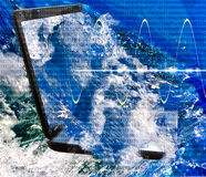 Images of laptop in water. Royalty Free Stock Image