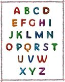Latin alphabet from plasticine. Images of letters of the Latin alphabet, which are made of colored plasticine royalty free stock images