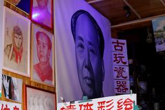 Images of Mao Zedong in a building in Lijiang in Yunnan, China royalty free stock image