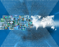 Images and map. Many abstract images on the theme of computers, Internet and high technology vector illustration