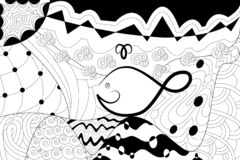 Images marines de coloration avec la baleine, le soleil, océan, mer, vagues Dessin de croquis Antistress avec des éléments de gri illustration libre de droits