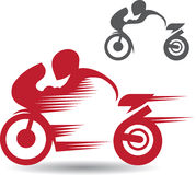 2 images of motocyclists. 2 images of motorcyclists red and grey on a white background Royalty Free Stock Images