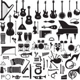 60 images of musical instruments. Collection of 60 black silhouettes of musical instruments on a white background Royalty Free Stock Images