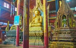 Images in Nga Phe Chaung Monastery, Ywama,  Inle Lake, Myanmar. YWAMA, MYANMAR - FEBRUARY 18, 2018: The masterpiece interior of Nga Phe Chaung Monastery of Stock Images