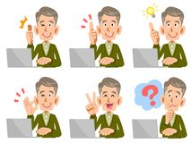 Older male laptop computer Facial expression and gesture vector illustration