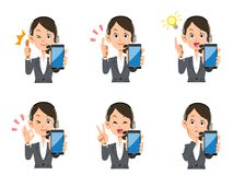 Operator female smartphone set of expressions and gestures stock illustration