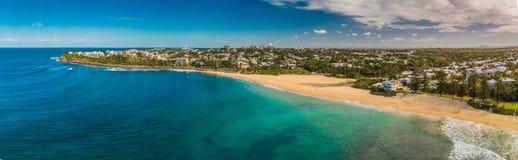 Images panoramiques aériennes de Dicky Beach, Caloundra, Australie Images stock