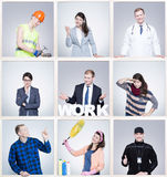Images of people form different professions. Frame project Royalty Free Stock Image