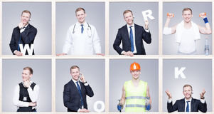 Images of people form different professions. White writing work, frame project Stock Image