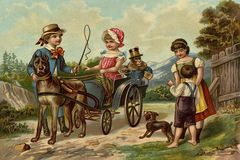 Children`s games. Riding on a little carriage. Royalty Free Stock Image