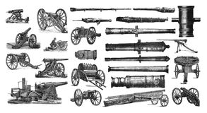 Illustration of a cannon on a white background. These images are public domain. Brockhaus, Friedrich Arnold 1772-1823.Encyclopedic dictionary / under the Royalty Free Stock Images