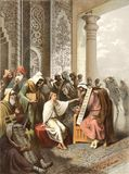 Jesus talks with the wise men in the temple. These images are public domain. Illustration for the Emperor Nicholas 1. Paris 1841 stock illustration