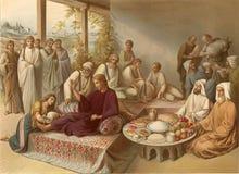 Washing feet Jesus a sinner. stock illustration