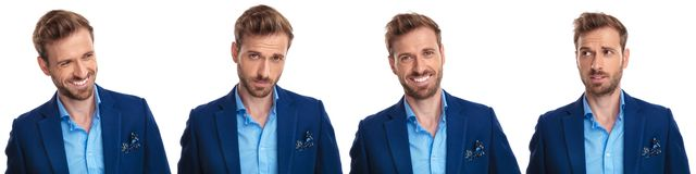 4 moods of a young elegant smart casual man. 4 images in a row of a young elegant smart casual man in suit on white background stock images
