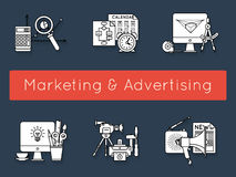 Images set with the attributes of different marketing and advertising stages Stock Photography