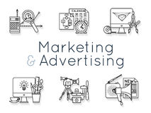 Images set with the attributes of different marketing and advertising stages Stock Photos